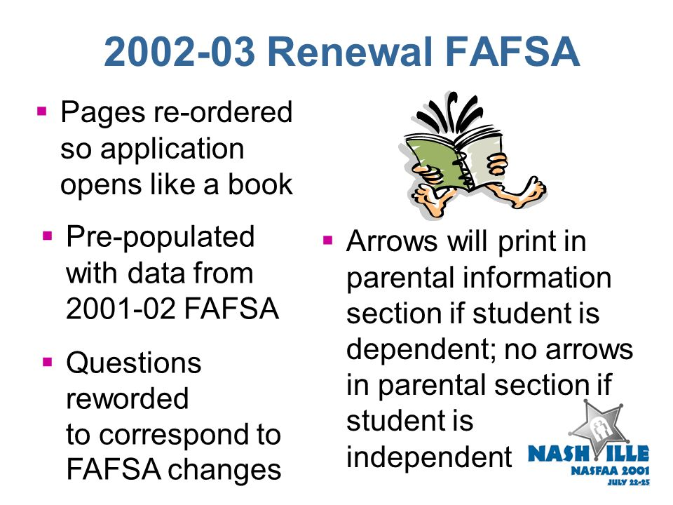 2002-03 FAFSA Worksheets  Still includes Worksheets A, B, and C  Untaxed portions of IRA distributions and pensions question on Worksheet B --  Spl