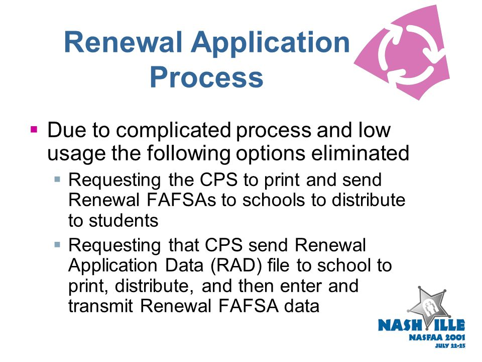 Renewal Application Process Renewal Application Process Action Letters on IFAP in July and August 2001 CPS will automatically send PINs instead of pap