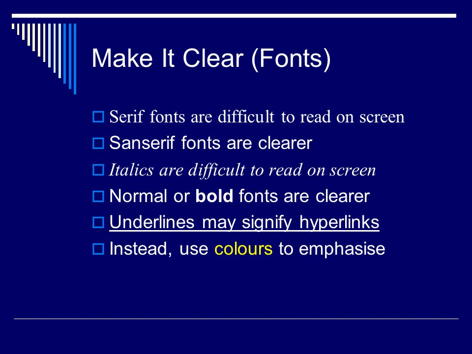 Sanserif Z Serif Z Make It Clear (Fonts) busy clear