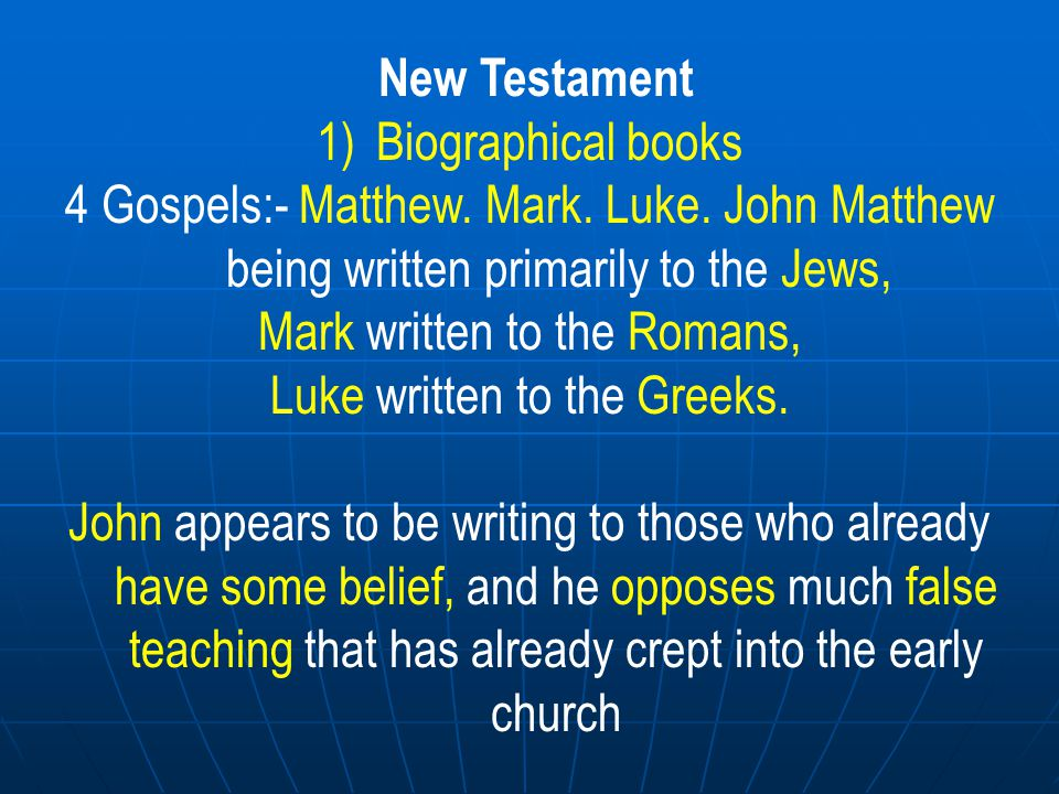 New Testament 2) HISTORY The book of Acts of Apostles.