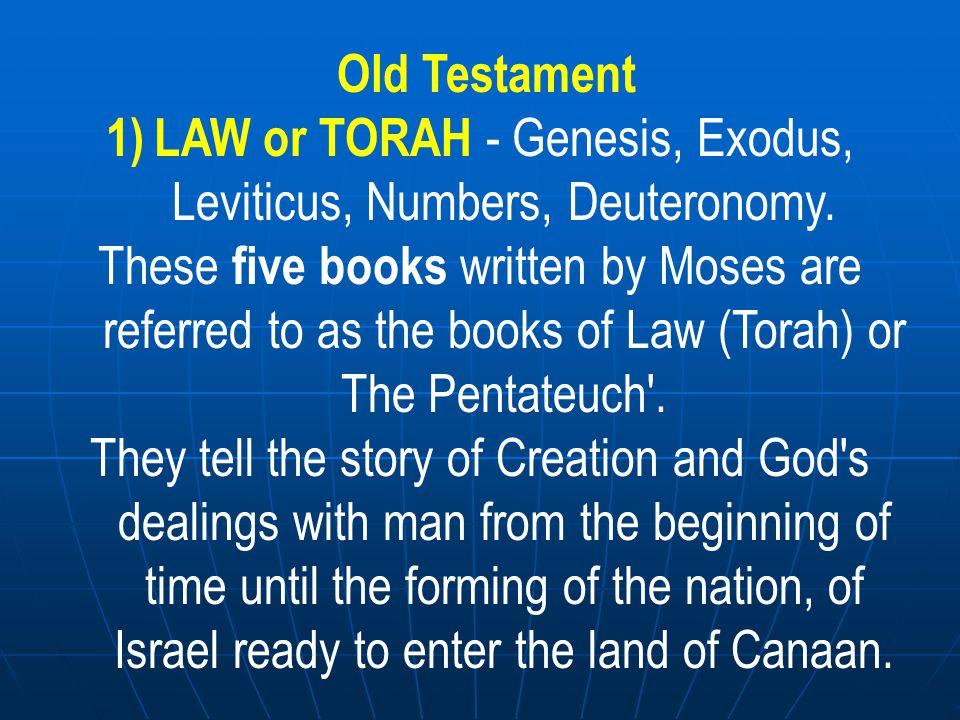 Old Testament 2) HISTORY - Joshua, Judges, Ruth, 1/2 Samuel 1/2 Kings, 1/2 Chronicles.