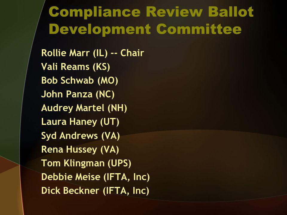 Compliance Review Ballot Development Committee Rollie Marr (IL) -- Chair Vali Reams (KS) Bob Schwab (MO) John Panza (NC) Audrey Martel (NH) Laura Haney (UT) Syd Andrews (VA) Rena Hussey (VA) Tom Klingman (UPS) Debbie Meise (IFTA, Inc) Dick Beckner (IFTA, Inc)