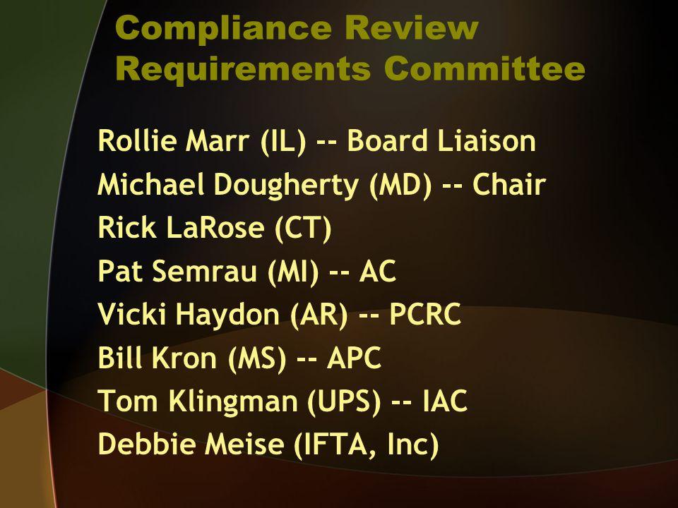 Compliance Review Requirements Committee Rollie Marr (IL) -- Board Liaison Michael Dougherty (MD) -- Chair Rick LaRose (CT) Pat Semrau (MI) -- AC Vicki Haydon (AR) -- PCRC Bill Kron (MS) -- APC Tom Klingman (UPS) -- IAC Debbie Meise (IFTA, Inc)
