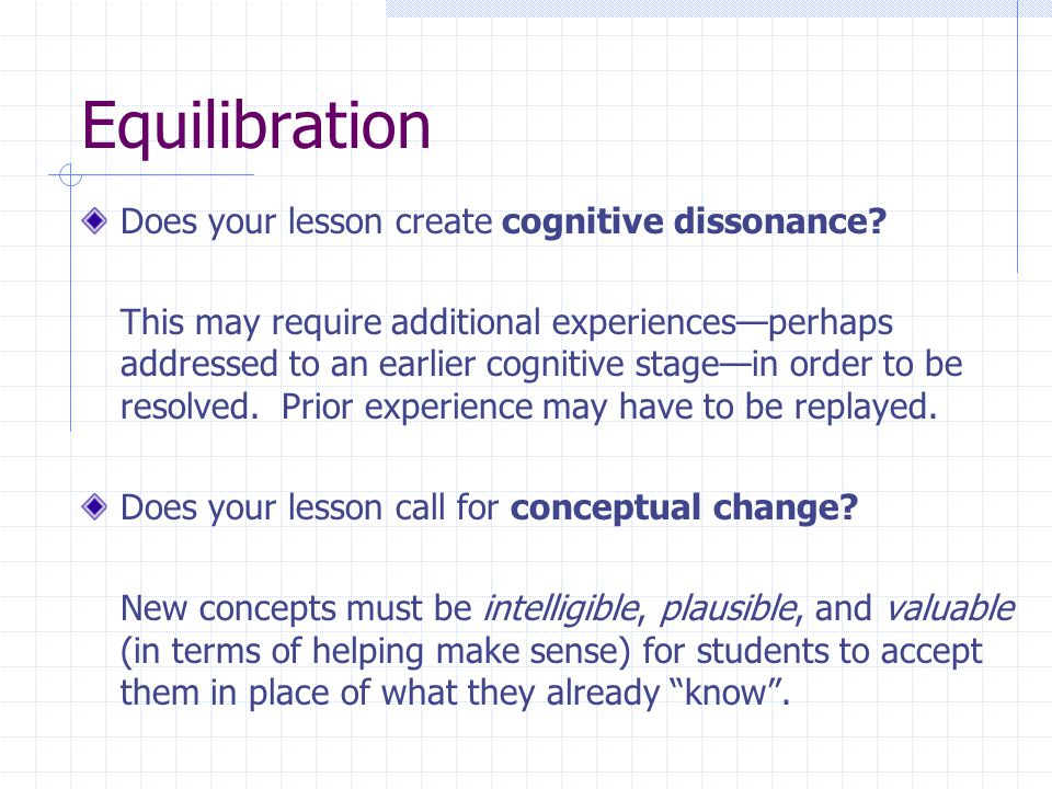 Equilibration Does your lesson create cognitive dissonance.