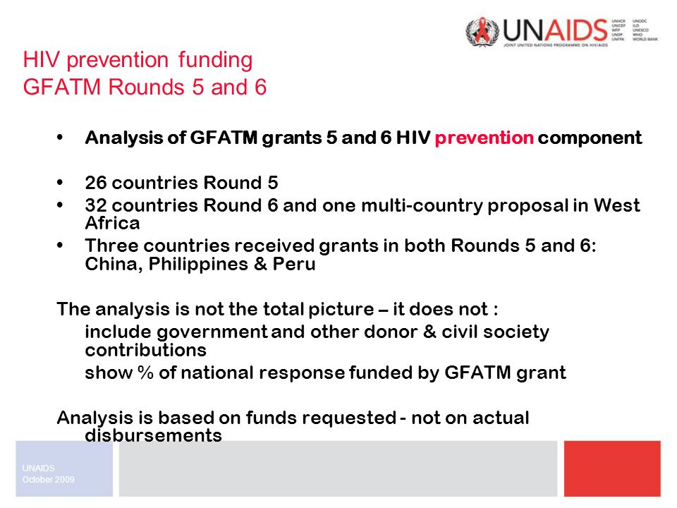 October 2009 UNAIDS HIV prevention funding GFATM Rounds 5 and 6 Analysis of GFATM grants 5 and 6 HIV prevention component 26 countries Round 5 32 countries Round 6 and one multi-country proposal in West Africa Three countries received grants in both Rounds 5 and 6: China, Philippines & Peru The analysis is not the total picture – it does not : include government and other donor & civil society contributions show % of national response funded by GFATM grant Analysis is based on funds requested - not on actual disbursements