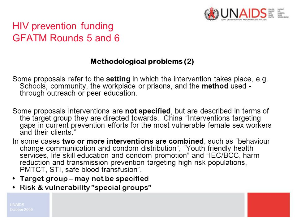 October 2009 UNAIDS Target group Middle East & North Africa