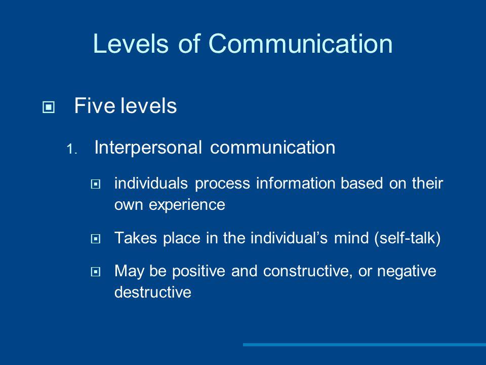 Levels of Communication Five levels 1.