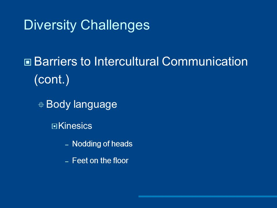 Diversity Challenges Barriers to Intercultural Communication (cont.)  Body language  Kinesics – Nodding of heads – Feet on the floor