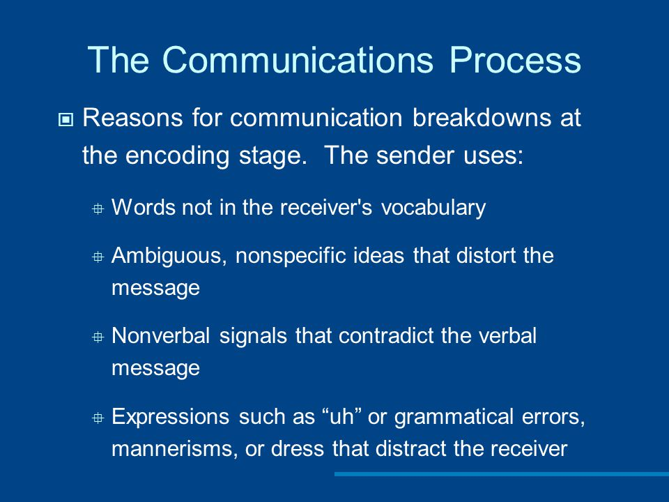 The Communications Process Reasons for communication breakdowns at the encoding stage.