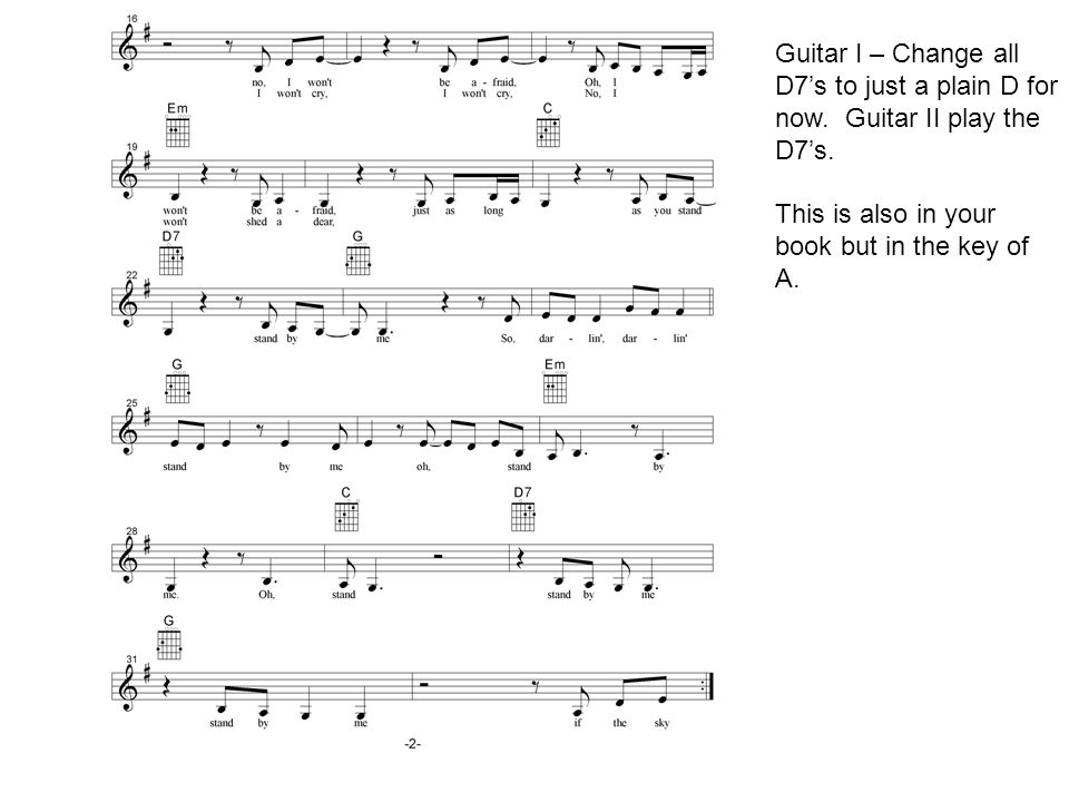 Guitar I – Change all D7's to just a plain D for now.