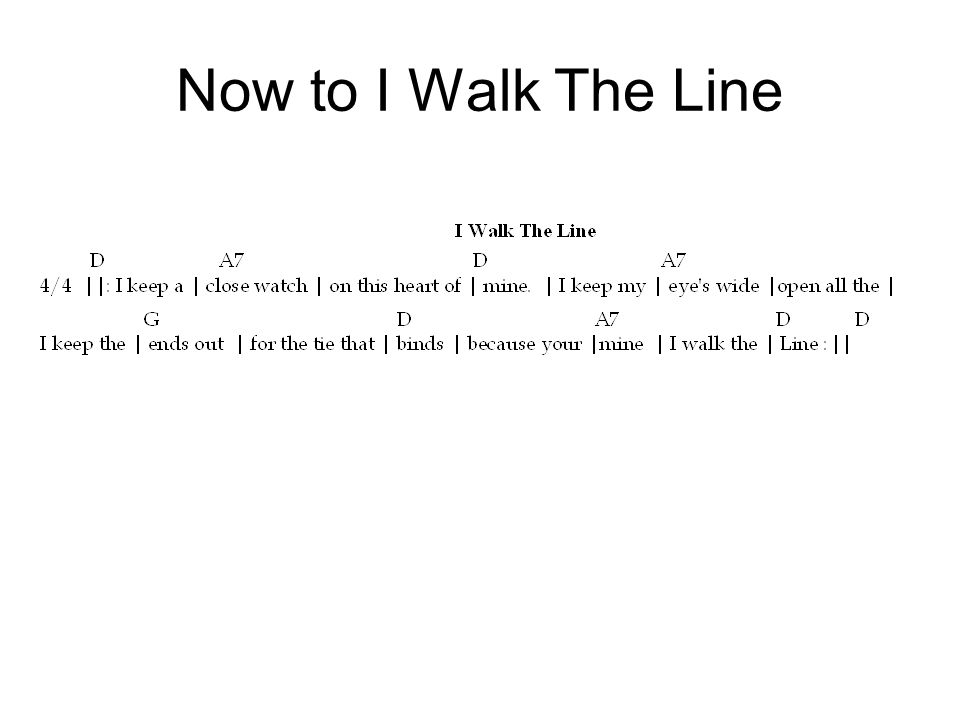Now to I Walk The Line