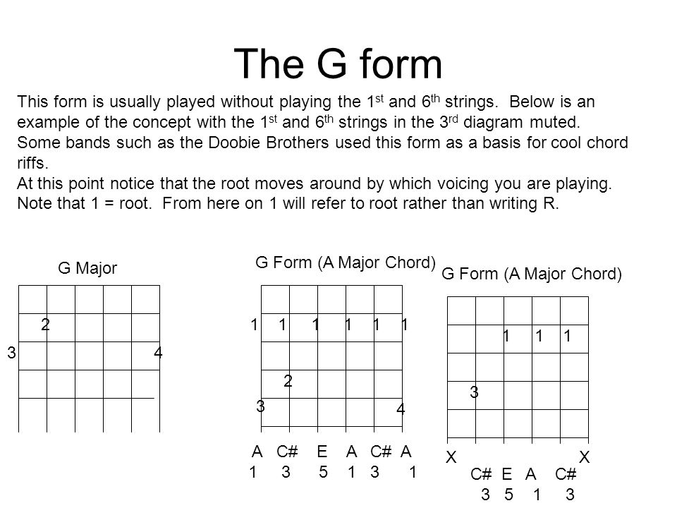 The G form 2 34 1 1 1 2 3 4 G Major G Form (A Major Chord) This form is usually played without playing the 1 st and 6 th strings.