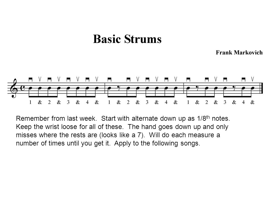 Remember from last week. Start with alternate down up as 1/8 th notes.