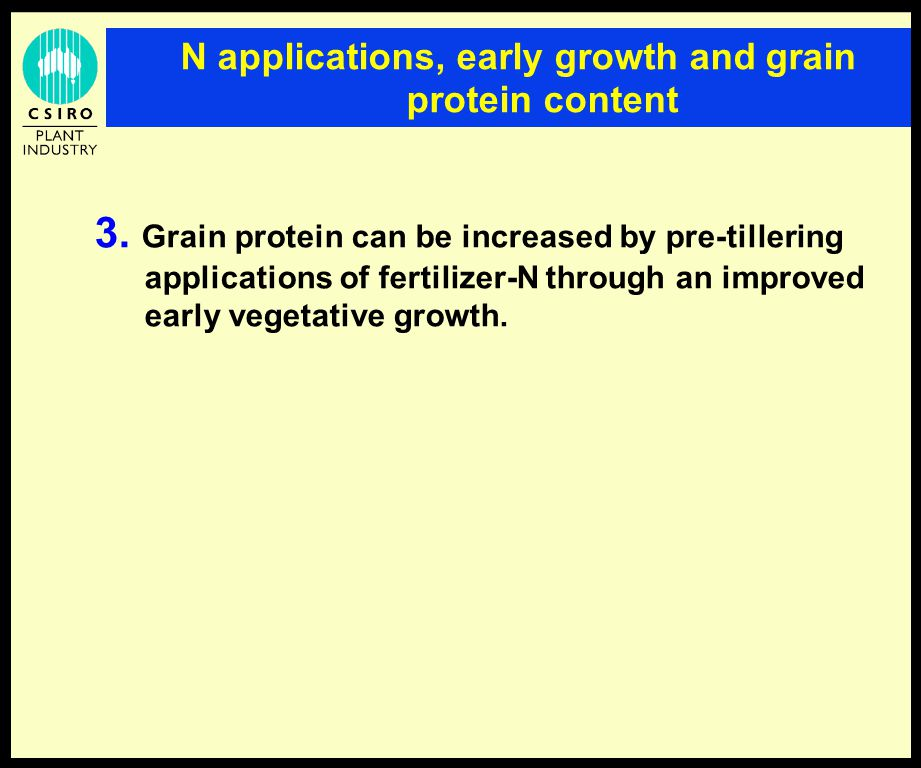 N applications, early growth and grain protein content 3.