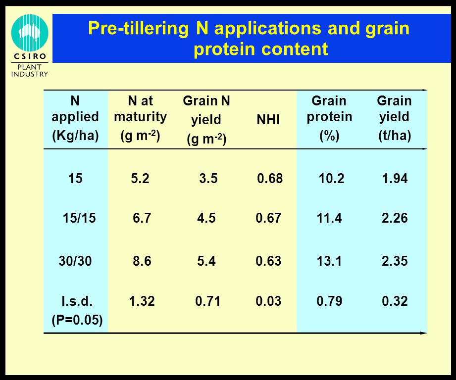 Pre-tillering N applications and grain protein content N applied (Kg/ha) N at maturity (g m -2 ) Grain N yield (g m -2 ) NHI Grain protein (%) Grain yield (t/ha) 155.2 3.5 0.68 10.2 1.94 15/15 6.74.50.6711.42.26 30/30 8.65.40.6313.12.35 l.s.d.