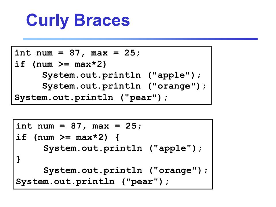 Curly Braces int num = 87, max = 25; if (num >= max*2) { System.out.println ( apple ); } System.out.println ( orange ); System.out.println ( pear ); int num = 87, max = 25; if (num >= max*2) System.out.println ( apple ); System.out.println ( orange ); System.out.println ( pear );