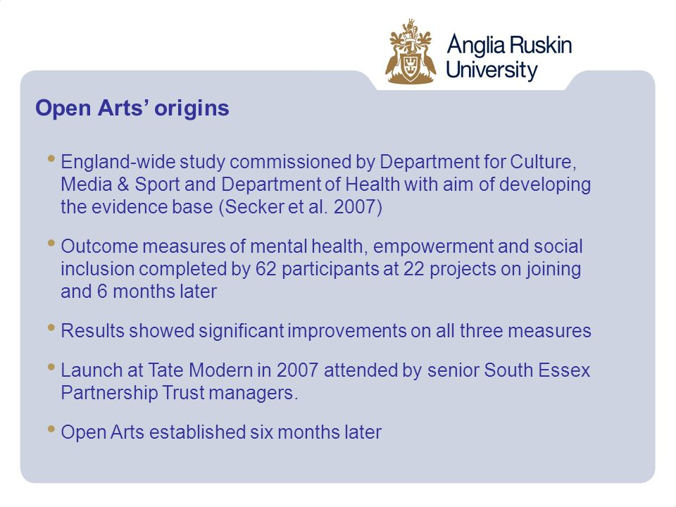 Open Arts' origins England-wide study commissioned by Department for Culture, Media & Sport and Department of Health with aim of developing the evidence base (Secker et al.