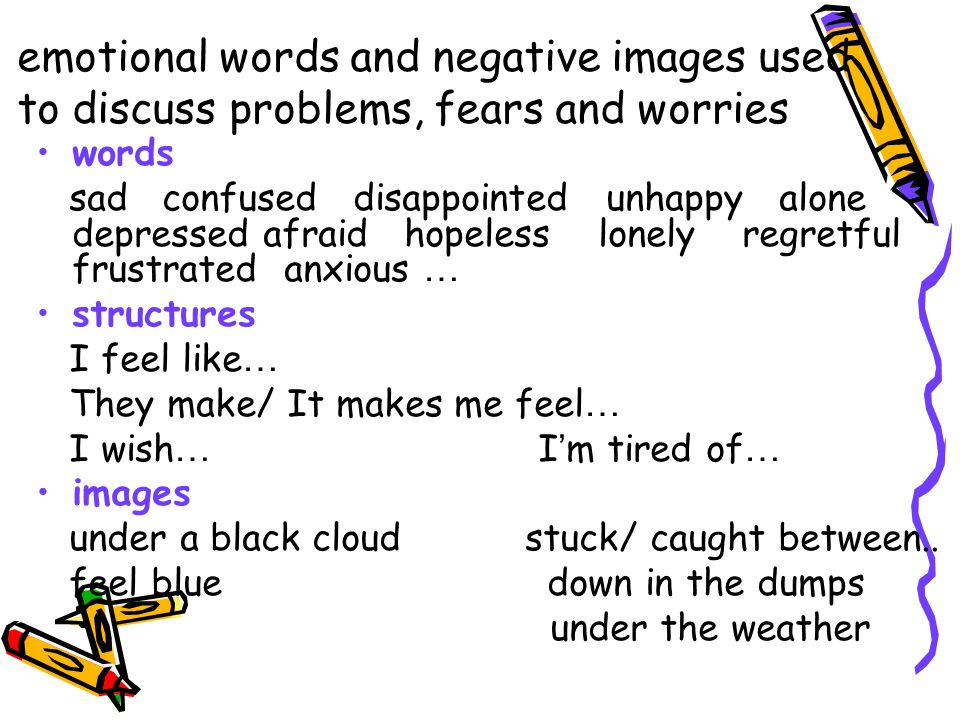 emotional words and negative images used to discuss problems, fears and worries words sad confused disappointed unhappy alone depressed afraid hopeles