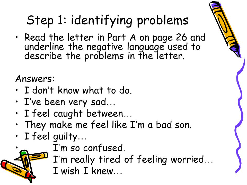 Step 1: identifying problems Read the letter in Part A on page 26 and underline the negative language used to describe the problems in the letter. Ans