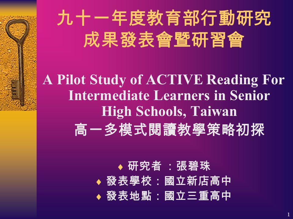 1 九十一年度教育部行動研究 成果發表會暨研習會 A Pilot Study of ACTIVE Reading For Intermediate Learners in Senior High Schools, Taiwan 高一多模式閱讀教學策略初探  研究者 :張碧珠  發表學校:國立新店高中  發表地點:國立三重高中