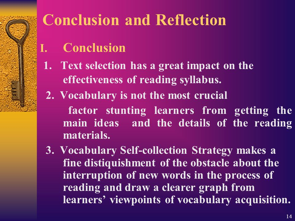 14 Conclusion and Reflection I. Conclusion 1.