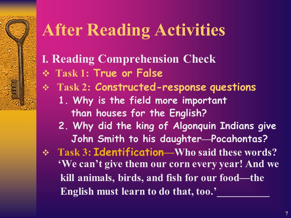 7 After Reading Activities I.
