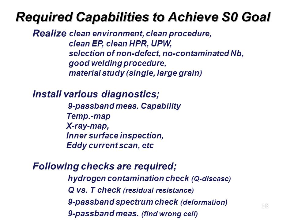 18 Required Capabilities to Achieve S0 Goal Realize clean environment, clean procedure, clean EP, clean HPR, UPW, selection of non-defect, no-contaminated Nb, good welding procedure, material study (single, large grain) Install various diagnostics; 9-passband meas.