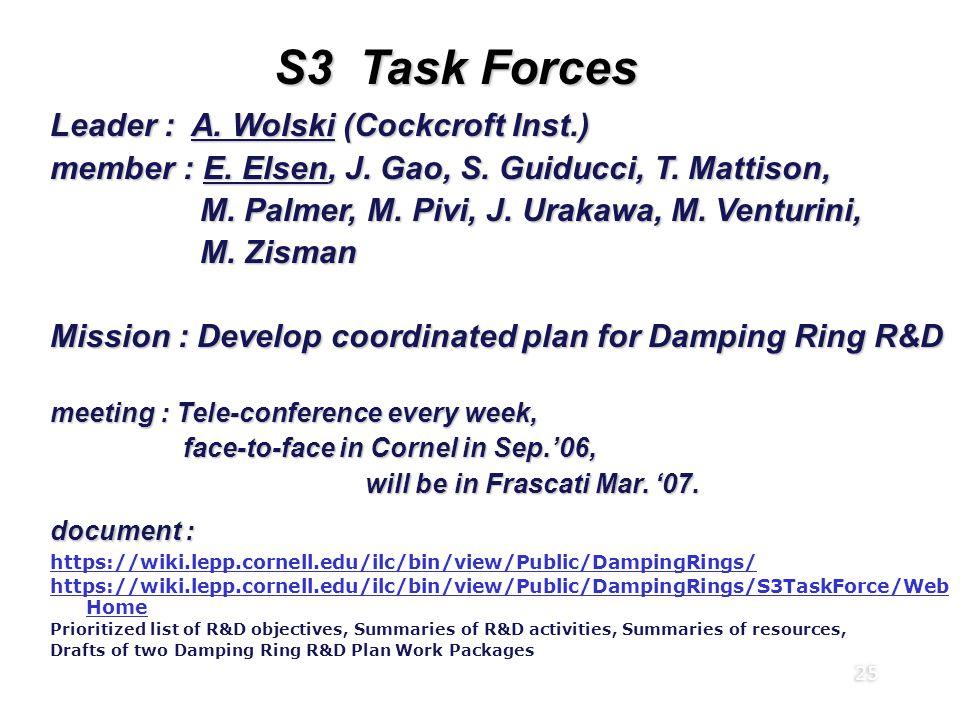 25 S3 Task Forces Global R&D Board (RDB) Leader : A. Wolski (Cockcroft Inst.) member : E. Elsen, J. Gao, S. Guiducci, T. Mattison, M. Palmer, M. Pivi,