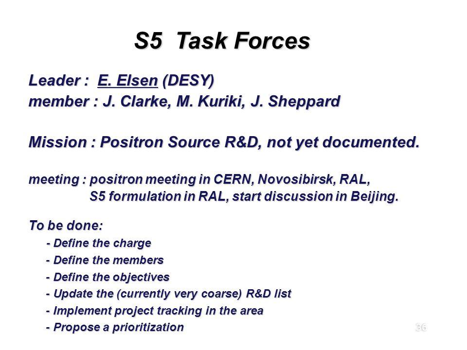 36 S5 Task Forces Leader : E. Elsen (DESY) member : J. Clarke, M. Kuriki, J. Sheppard Mission : Positron Source R&D, not yet documented. meeting : pos