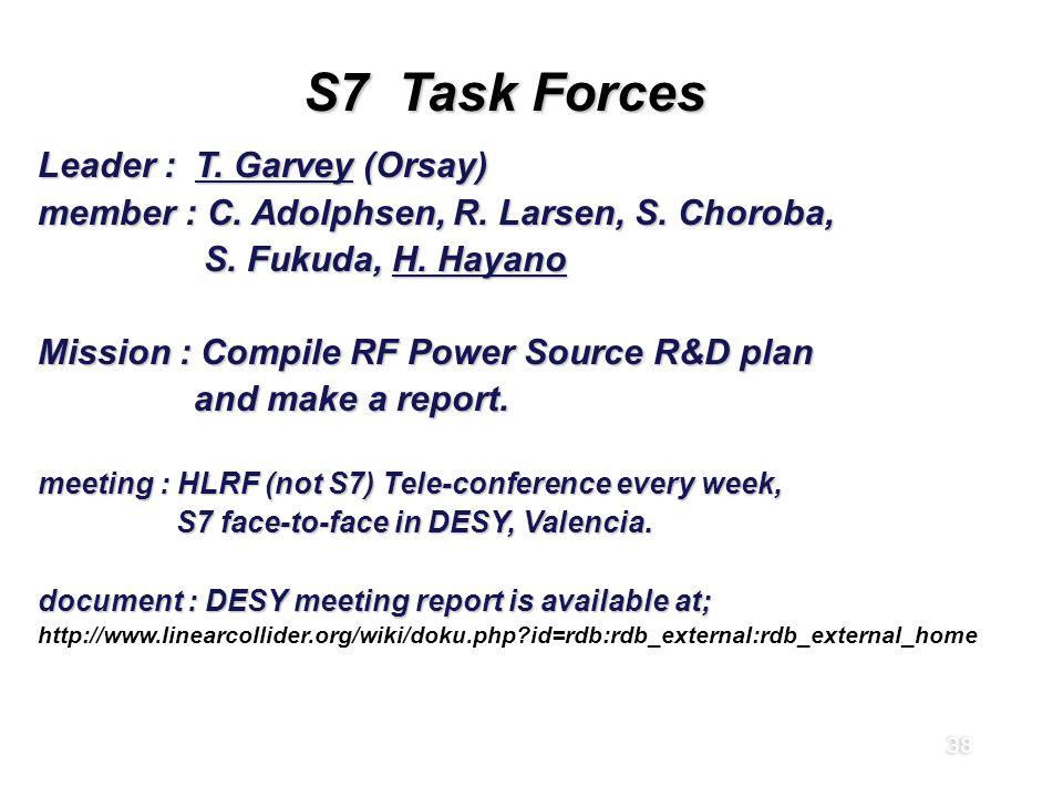 38 S7 Task Forces Leader : T. Garvey (Orsay) member : C.
