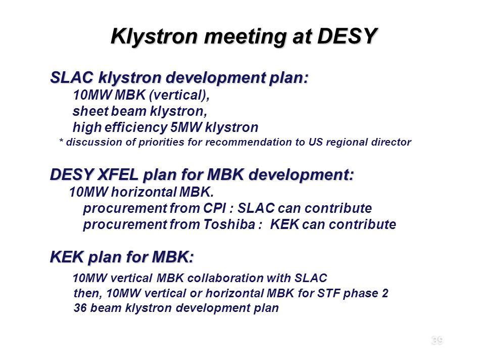 39 Klystron meeting at DESY SLAC klystron development plan: 10MW MBK (vertical), sheet beam klystron, high efficiency 5MW klystron * discussion of pri