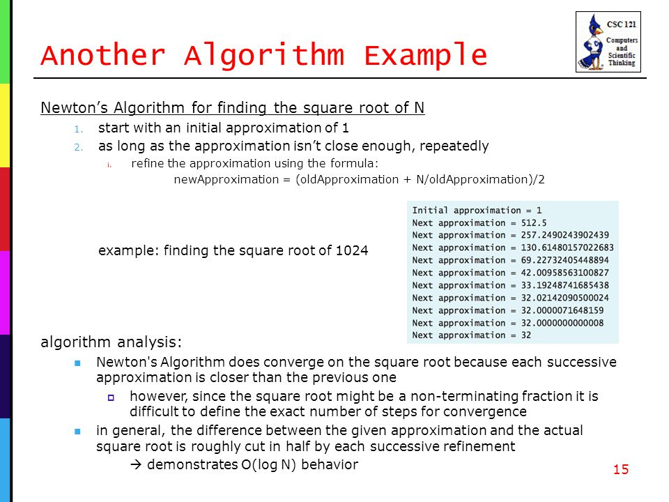 Another Algorithm Example Newton's Algorithm for finding the square root of N 1.