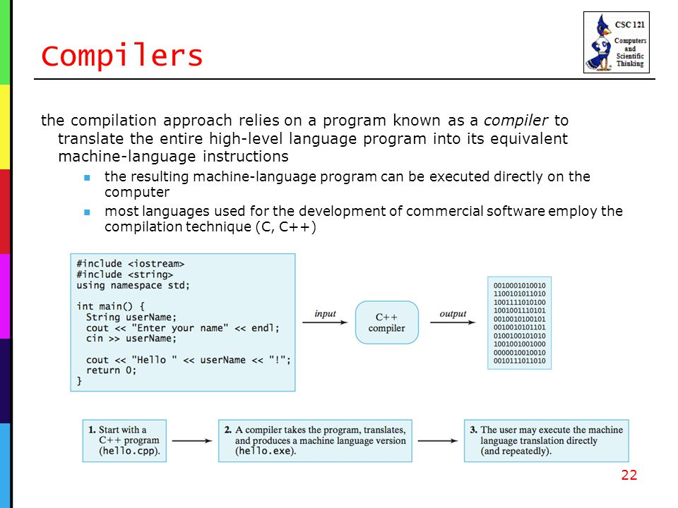 Compilers the compilation approach relies on a program known as a compiler to translate the entire high-level language program into its equivalent machine-language instructions the resulting machine-language program can be executed directly on the computer most languages used for the development of commercial software employ the compilation technique (C, C++) 22