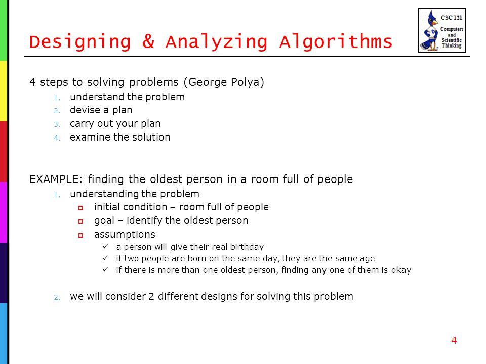 Algorithm 1 Finding the oldest person (algorithm 1) 1.