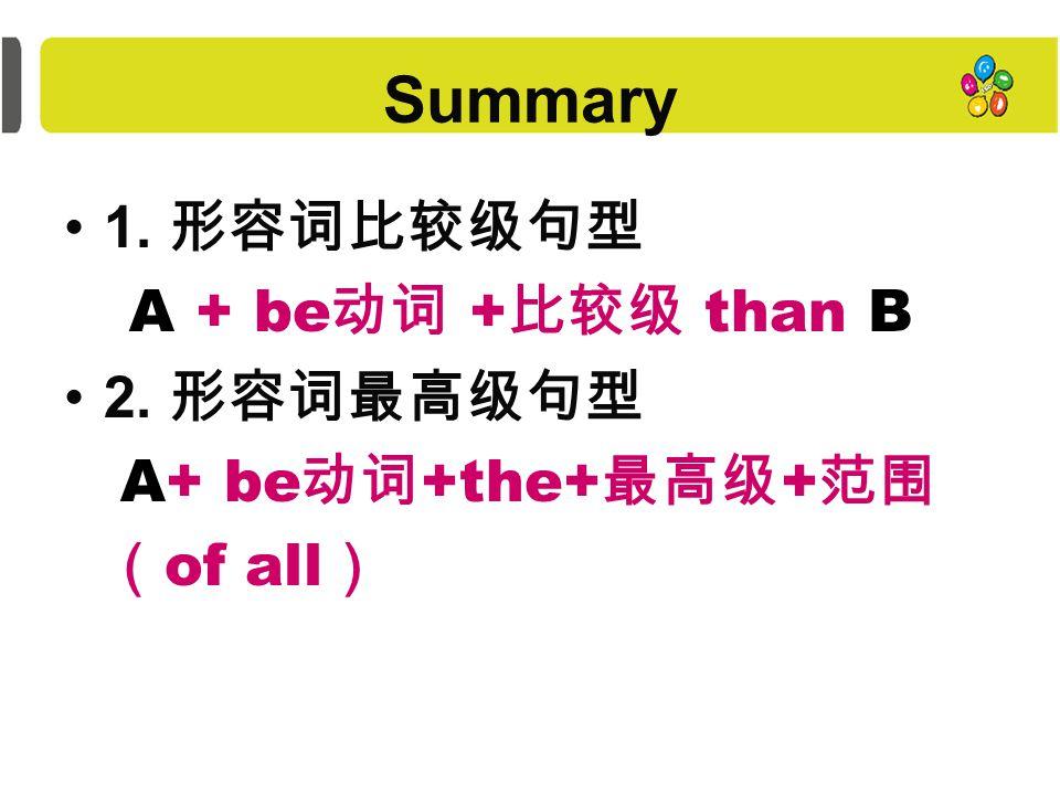 How to use them Comparative 比较级 Superlative 最高级 两者比较 两者以上的比较