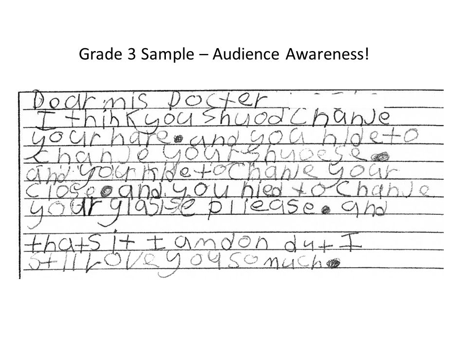Grade 3 Sample – Audience Awareness!