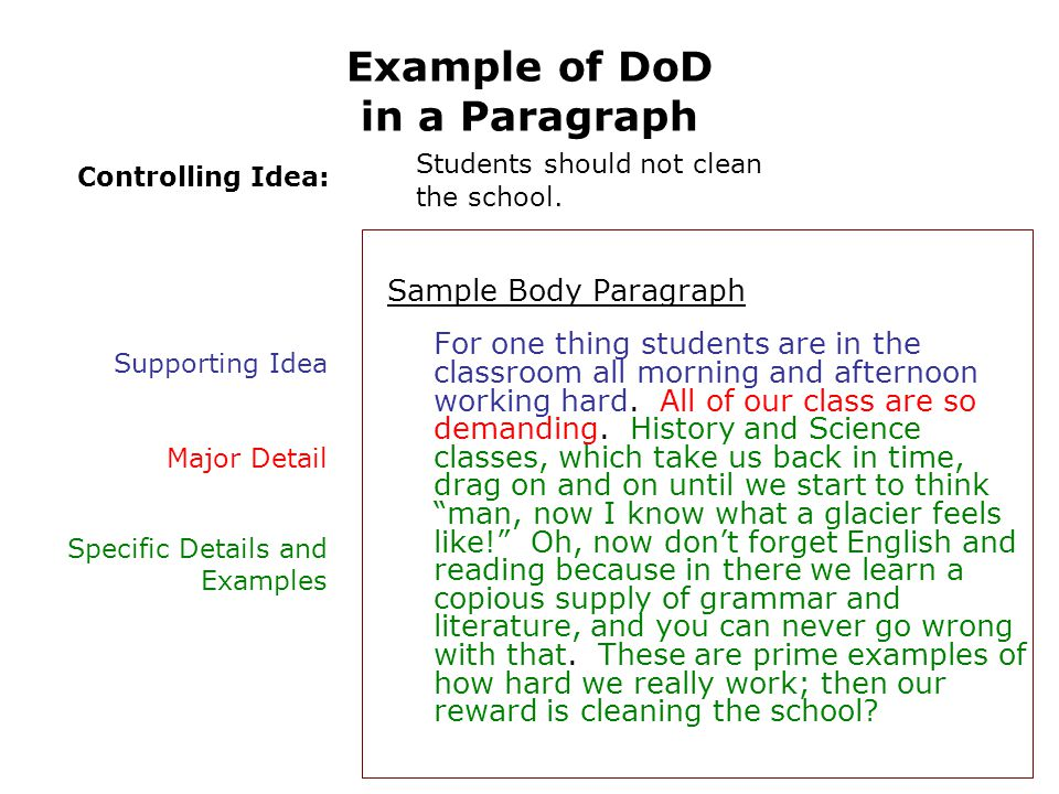 Example of DoD in a Paragraph Sample Body Paragraph For one thing students are in the classroom all morning and afternoon working hard.