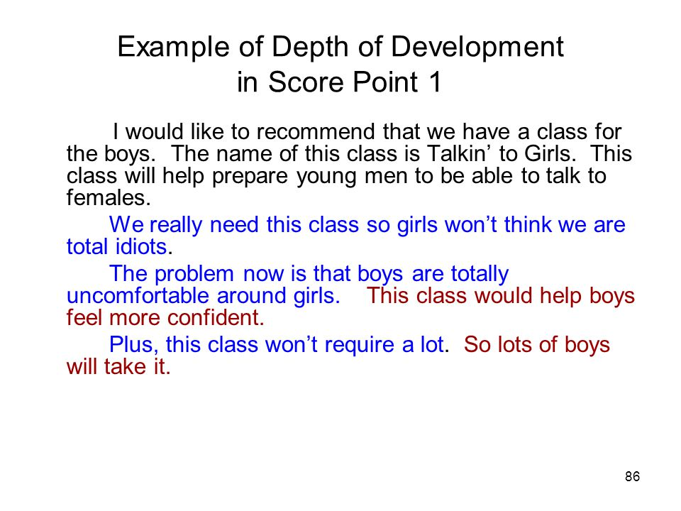 86 Example of Depth of Development in Score Point 1 I would like to recommend that we have a class for the boys.