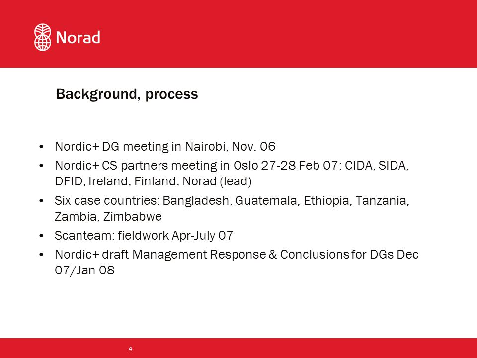 4 Background, process Nordic+ DG meeting in Nairobi, Nov.