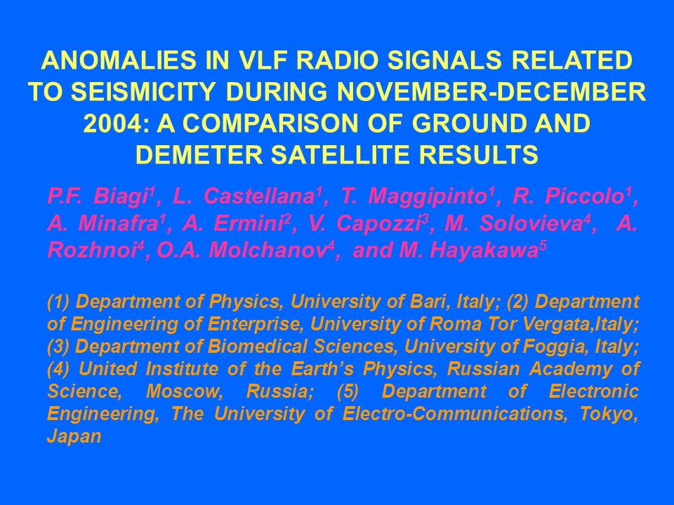 The VLF/LF (10-60 kHz) radio signals are used for standard frequency and time broadcasts as well as navigation system.