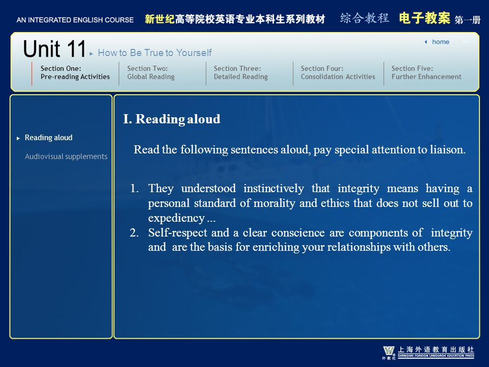 Section Two: Global Reading Section Three: Detailed Reading 3.text1-2_W_morality2 Section One: Pre-reading Activities Section Four: Consolidation Activities Section Five: Further Enhancement How to Be True to Yourself Practice: Translate the following sentences into English: 1) 我认为我们应该对禁止难民进入的道德性加以置疑。 2) 胜利总是对提高士气大有好处。 I think we should question the morality of turning away refugees.