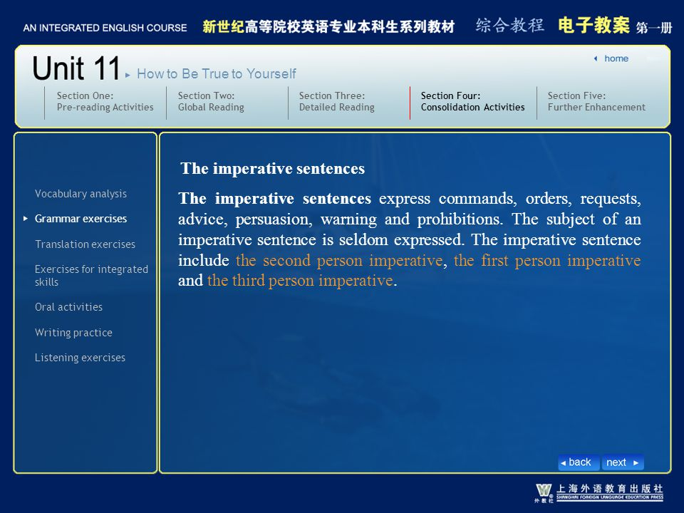 The imperative sentences express commands, orders, requests, advice, persuasion, warning and prohibitions.