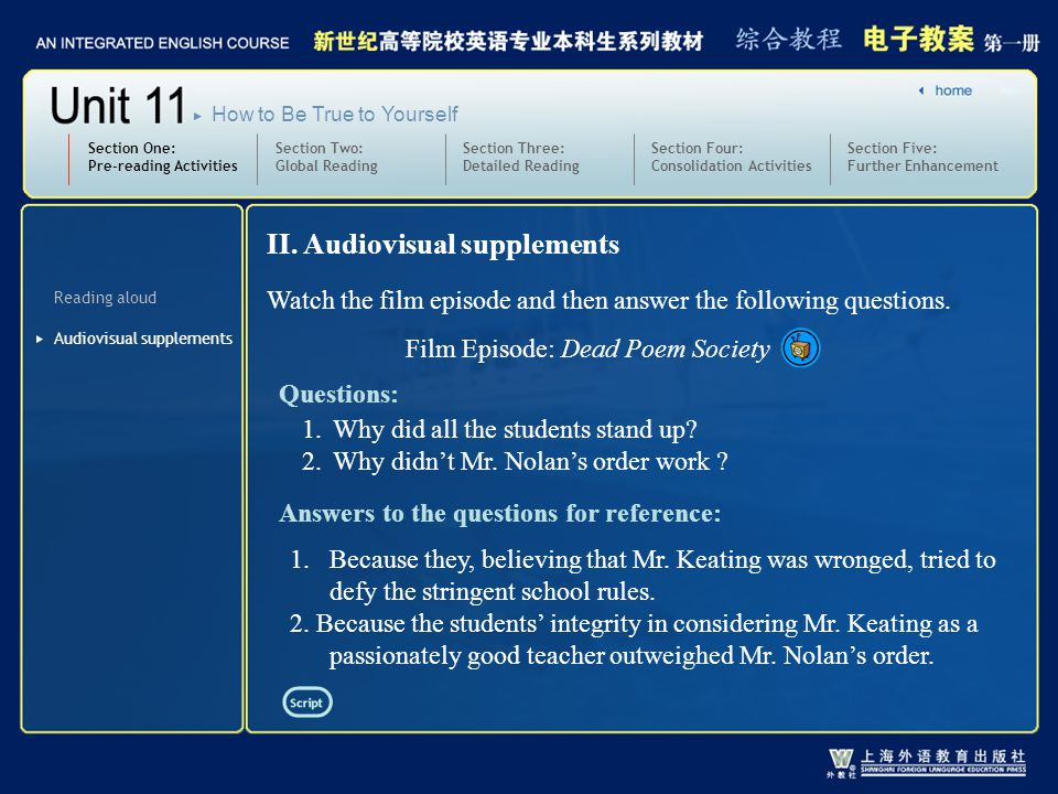 Section Two: Global Reading Section Three: Detailed Reading 3.text1-2_W_in short supply2 Section One: Pre-reading Activities Section Four: Consolidation Activities Section Five: Further Enhancement How to Be True to Yourself Practice: Translate the following sentences into English: 1 ) 我们必须节约紧缺的能源。 2 )洪灾地区食品供应短缺。 We must save energy that has already been in short supply.