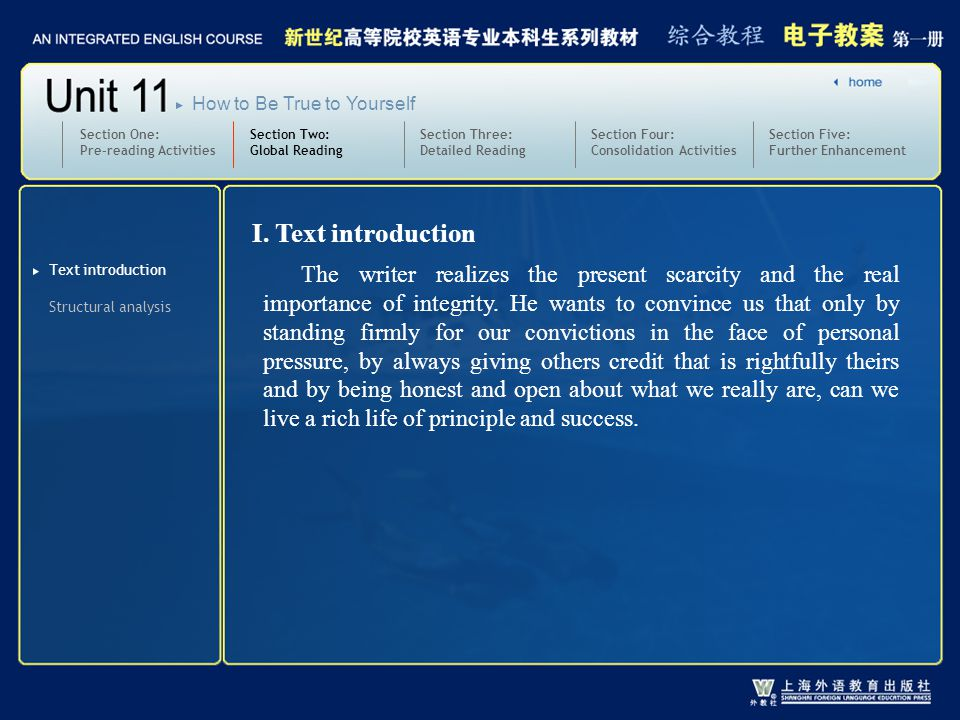 Section Two: Global Reading Section Three: Detailed Reading 3.text1-2_W_demand of2 Section One: Pre-reading Activities Section Four: Consolidation Activities Section Five: Further Enhancement How to Be True to Yourself Practice: Translate the following sentences into English: 1 ) 有些家长对他们的孩子要求太多。 2 ) 从个人职责的角度上讲,你还要我做些什么? Some parents demand too much of their children.