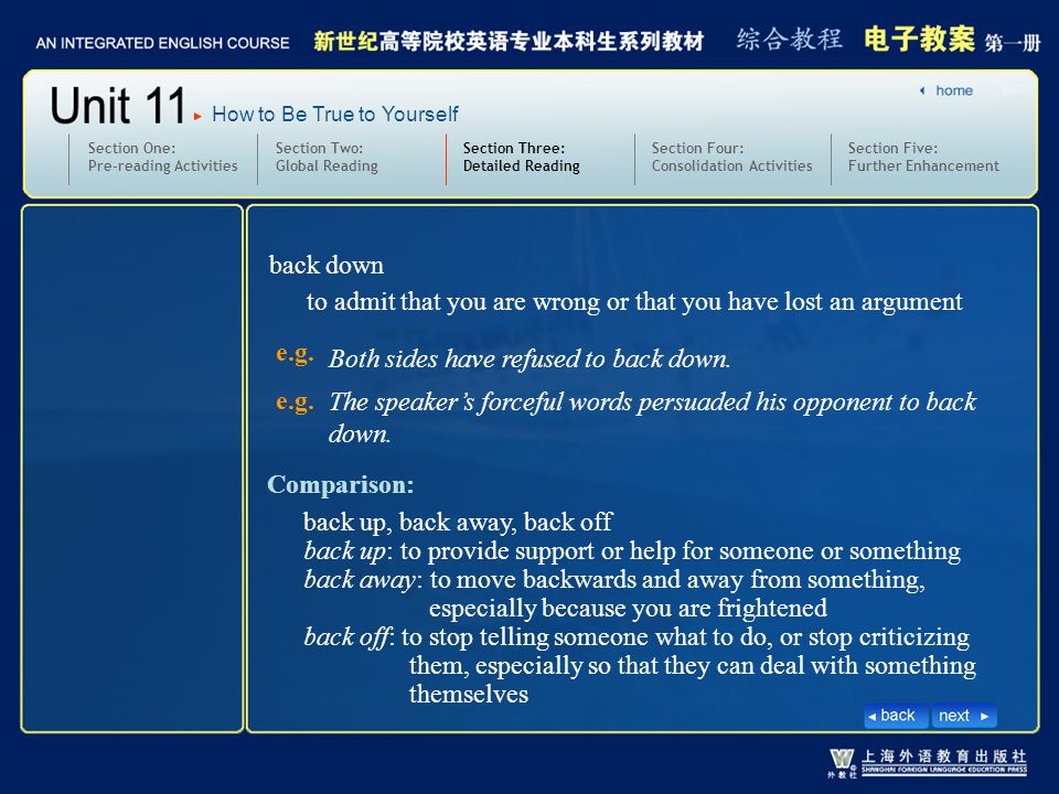 Section Two: Global Reading Section Three: Detailed Reading 3.text7-10_W_back down1 Section One: Pre-reading Activities back down Section Four: Consolidation Activities Section Five: Further Enhancement How to Be True to Yourself to admit that you are wrong or that you have lost an argument e.g.