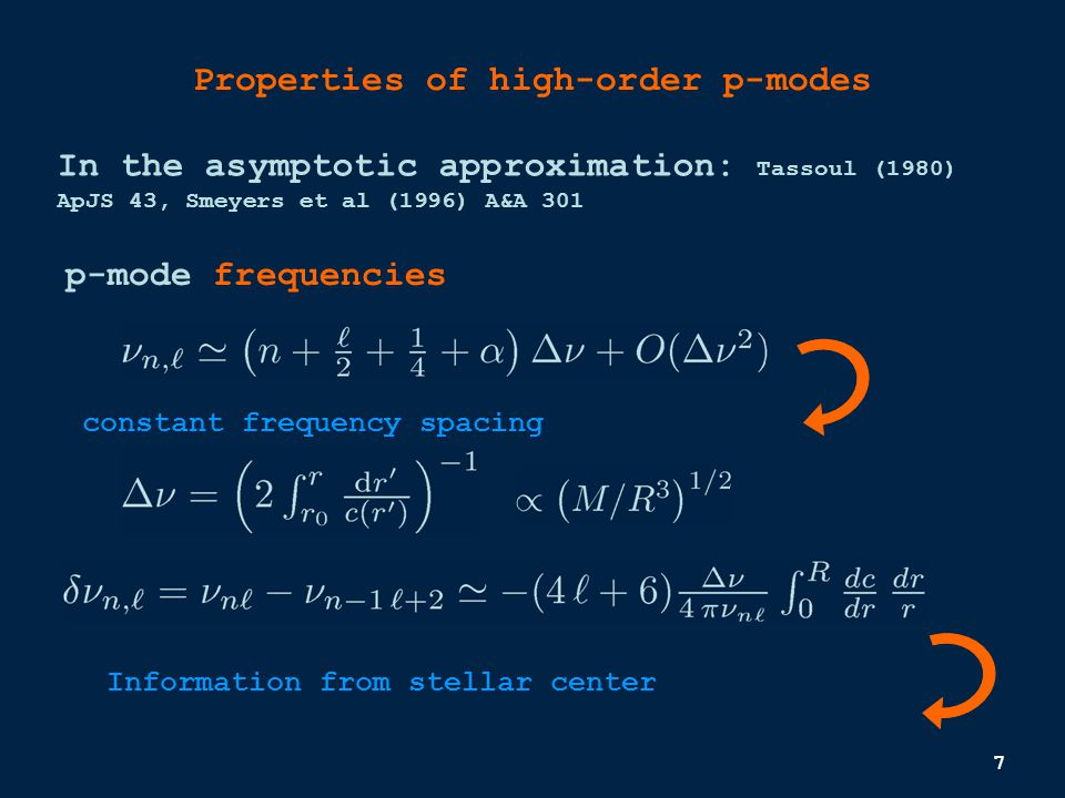 7 Properties of high-order p-modes p-mode frequencies In the asymptotic approximation: Tassoul (1980) ApJS 43, Smeyers et al (1996) A&A 301 constant frequency spacing Information from stellar center