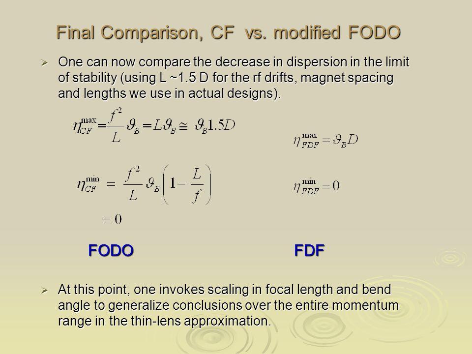 Final Comparison, CF vs.