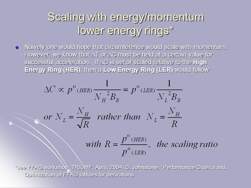 Scaling with energy/momentum lower energy rings* Naively one would hope that circumference would scale with momentum.