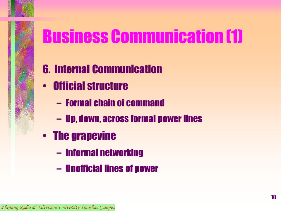 10 Business Communication (1) 6. Internal Communication Official structure –Formal chain of command –Up, down, across formal power lines The grapevine