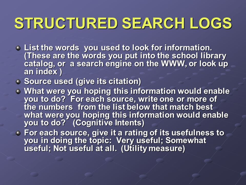STRUCTURED SEARCH LOGS List the words you used to look for information.